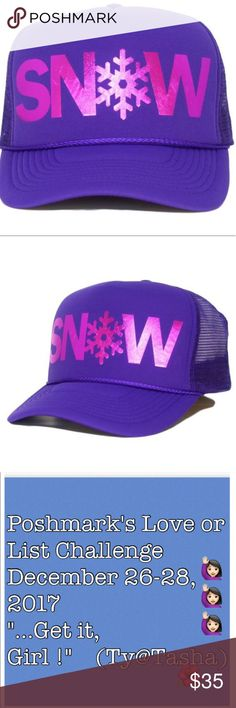"❄️SNOW❄️Hat/SuperSwagBaseballCap🇺🇸unisexAdultNEW ❄️SNOW❄️ Super Swag Hat / Baseball Cap ADULT NEW.The original.""this ain't no remix"" Beware of copycats.⭐️purchased online so no tags but brand new in box.Never worn.Never tried on.Never modelled(but they did try to).Cutest,coolest hat ever.Has thelook any bigkid/adult might like or even 1who skiis.You willnot be disappointed😊ADULT SIZED,Foam front,mesh back.1 size fits all.adjustable snap back✨grapey purple w/Metallic pink print.I have ""a…"