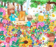 Honey bees - children's illustration by Sofia Cardoso #illustration #kidlitart