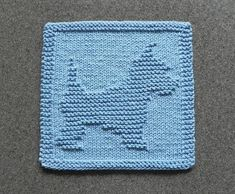 Dog Dishcloth of Yorkie or Westie in Light Blue, Hand Knitted Wash Cloth or Face Cloth, Cotton, Cute Puppy Dog Cloth Knitted Dishcloth Patterns Free, Knitting Squares, Knit Dishcloth, Loom Knitting, Knitting Stitches, Baby Knitting, Crochet Patterns, Yorkie, Knitting Projects