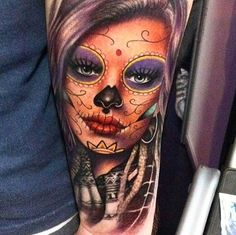 By Camilo Tuero  #tattoo #tattoos #tatuagens #tatuagem #realismo #realism #blackandgrey #blackandgreytattoo #portrait #reslistic #catrina #katrina #caveiramexicana #woman #caveira #mexicana #inked #colorido