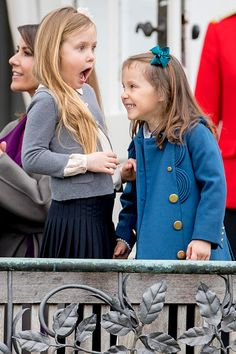 (L-R) Princess Josephine and Princess Athena of Denmark attend the 77th birthday celebrations of Danish Queen Margrethe at Marselisborg Palace on April 16, 2017 in Aarhus, Denmark.