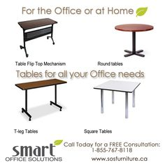 Are you looking for a #table that fits 'just right' in your #Office environment? We carry a wide range of tables with or without wheels. For more information call us Toll Free: 1-855-767-8118 www.sosfurniture.ca New Furniture, Office Furniture, Table Flip, Smart Office, Office Environment, Square Tables, Dining Bench, Custom Design, Wheels