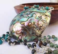 Abalone pendant, real shell pendant, rainbow shell, natural abalone, beach wedding, beach holiday, chrysocolla necklace, blues colours by graciedot on Etsy