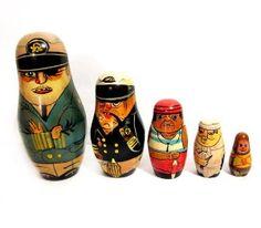 Vintage Tole Painted Wood Ship Captain / Pirate Nesting Dolls