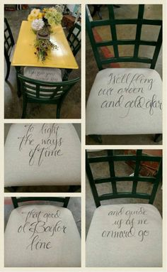 """Chairs with the lyrics to """"That Good Ol' Baylor Line"""" printed on them! #SoMuchSicEm"""