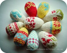 Scandinavian Knitted Easter Eggs by Martha from After Hours Easy Crochet Patterns, Knitting Patterns, Easter Egg Pattern, Coloring Easter Eggs, Egg Art, Yarn Shop, Easter Crafts, Easter Ideas, Holiday Crafts