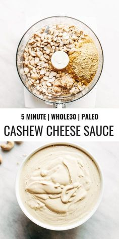 5 minute vegan cashew cheese sauce paleo and dairy free cheese recipe Made with raw cashews tastes like the perfect cheese dip for vegetables chips served over noodles or licked straight off the spoon paleo vegan vegancheese cashews Vegan Cashew Cheese Sauce, Vegan Cheese Recipes, Vegan Sauces, Raw Vegan Recipes, Vegan Foods, Vegan Dishes, Cashew Recipes, Raw Vegan Dinners, Paleo Diet