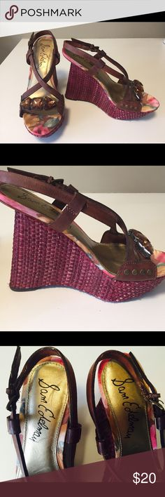 Scandals: Sam Edelman. Maroon/ w yellow jewel High heel 4-5 inches. Maroon w brown leather. Yellow jewel on front. Cute! Minimal wear. Size 7.5 Sam Edelman Shoes Platforms