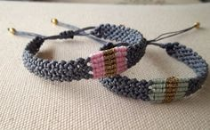 Makrame bracelet gray, pink, turquoise, gold  macrame jewelry | Friendship…