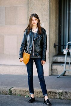 Paris Fashion Week AW 2014.  A leather motorcycle jacket never goes out of style! #DCSecondi
