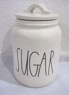 9d4d5190c1b HTF Rae Dunn Sugar Canister Clay Magenta Black Letters Kitchen Home Cream  White