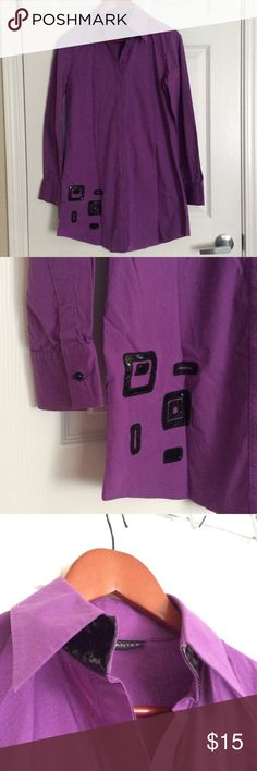Button Down Tunic Top in Purple Hidden button front. Leather like decoration on its right side and collar. Tops Tunics
