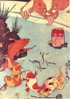 Cat and Koi Pond by Utagawa Kuniyoshi (歌川国芳)