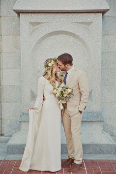 Long-sleeved custom designed ivory wedding dress   Photography by Stephanie Sunderland  (Modest Style, Modest Wedding Dress, Hijab, Hijabi, Modest Style for Brides)