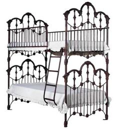 Victorian Bunk Beds Ideally suited for pretty princess bedrooms, for sisters and sleepovers. Iron posts with Argentina rust finish. 76 x 41 x Victorian Bunk Beds, Victorian Furniture, Victorian Homes, Rustic Furniture, Antique Furniture, Cool Furniture, Modern Furniture, Outdoor Furniture, Antique Couch