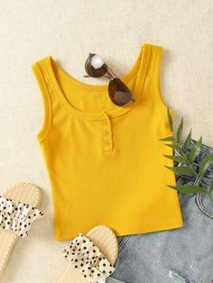 The perfect yellow crop top for summer. Less than $10 and over 2000 5 star reviews! Cheap Crop Tops, Cute Crop Tops, Tank Tops, Crop Top Outfits, Summer Outfits, Yellow Crop Top, Knitted Tank Top, Mustard Yellow, Rib Knit