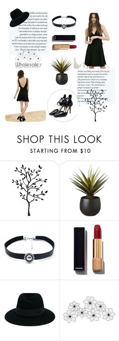 """""""Wholesale7/ pumps & black dress"""" by lee77 ❤ liked on Polyvore featuring CB2, Child Of Wild, Chanel and Maison Michel"""