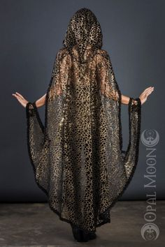 Art Deco Cape In Antique Gold For Stevie Nicks W/hood | Opal Moon Designs | I Am Attitude