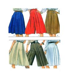 McCalls 8530 Skirt, Split Skirt or Culottes: Front and Back Pleats Sewing Pattern Vintage 1980s Size 8 by FindCraftyPatterns on Etsy