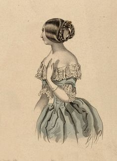 Vintage Lady In Blue Dress With Her Hair Up