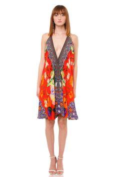 2b12884c9401 Red Short Asymmetric Floral Slip Dress