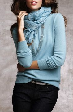 Love the color and weight of the sweater and the scarf is great