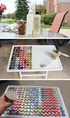 What to do with all your leftover bottle caps? Check it out! What to do with all your leftover bottle caps? Check it out! The post What to do with all your leftover bottle caps? Check it out! appeared first on Craft Ideas. Beer Bottle Crafts, Beer Cap Crafts, Bottle Cap Projects, Crafts With Bottle Caps, Beer Bottles, Beer Cap Table, Bottle Cap Table, Bottle Cap Art, Blue Bottle