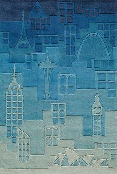 Blue Urban Landscape Rug by Momeni Rugs