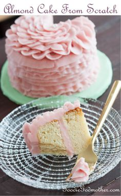 PUT DOWN THE BOX MIX! This recipe for almond cake from scratch is perfect for everything from fondant cakes to perfectly domed cupcakes. Learn how to make it on GoodieGodmother.com
