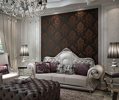 Embossed-Textured-Luxury-Classic-Damask-Black-Brown-Lines-Background-Wallpaper
