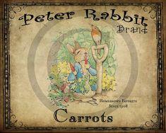 Primitive Vintage Peter Rabbit Carrots Printable Jpeg Digital  Image Feedsack Logo for Pillows Pantry Labels Hang tags Magnets Ornies