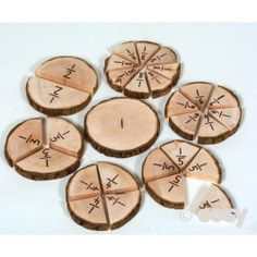A set of wooden fraction slices that children will enjoy handling. Includes fractions from 1 to Set of Sizes will vary as itÉ?s a natural product. Cosy Direct, Forest Crafts, Early Years Maths, Wooden Numbers, School Sets, Math Fractions, Outdoor Learning, Forest School, Numeracy
