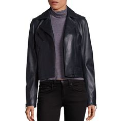 rag & bone/JEAN Mercer Leather Moto Jacket (969.775 COP) ❤ liked on Polyvore featuring outerwear, jackets, apparel & accessories, long sleeve jacket, genuine leather biker jacket, quilted moto jacket, leather biker jacket and real leather jackets