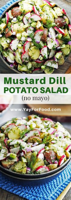 Mustard Dill Potato Salad. The bold flavour of dijon mustard teams up with earthy dill in this no mayo potato salad recipe. With textures ranging from creamy to crunchy, this salad makes for the perfect quick and easy side dish.