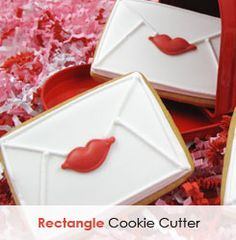 valentine cookies - a rectangle decorated like an envelope ...  For kids (with a heart instead of lips)