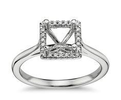 Plain Shank Princess Cut Halo Engagement Ring in 14k White Gold | Blue Nile