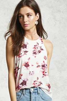Style Deals - A woven top featuring a front floral print, semi-sheer cowl back, high neckline with a back button closure and a keyhole cutout, sleeveless cut, and a high-low hem. Shop Forever, Forever 21, Floral Tops, Floral Prints, Spring Summer Fashion, Cowl, Latest Trends, Camisole Top, Clothes For Women