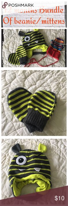 12 month old bundle of 3 beanie/mittens Gently worn, normal wash wear. EUC.                                  ❇️ There could be some small stains/blemishes I missed, but I try to note everything.😘.                          ❇️ Reasonable Offers Only Please ❇️ Smoke and pet free ❇️ If this is a bundle, I WILL NOT break it up and sell    separately ❇️ I do not model anything; I will provide measurements if needed.  ❇️ Please do not hesitate to ask questions, 👍.         ❇️ NO HOLDS, NO TRADES…
