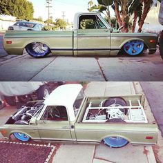 "Hot Wheels - Yeah the man @jdcriz is making some sweet progress on his C10 ""Old Olive"" , packing that @accuair management and the best from @introwheels you know it's the business! #chevrolet #gmc #c10 #airsuspension #bagged #raked #stance #layframe #streetrod #streettruck #hotrod #truckporn #carporn #accuair #introwheels #elevel #lowfastfamous"