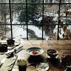 Window gazing.