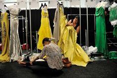 Gowns backstage Carolina Herrera s/s 2012