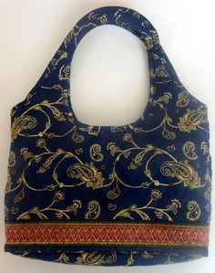 b58e5bfc133f Quilted Handbag Blue Paisley Americana by Sharif Purse Tote Blue Yellow Red   AmericanabySharif  Hobo