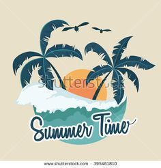 Illustration of Summer Badge With Palm Tree and Wave Beach Illustration, Graphic Illustration, Luau Shirts, Surf Stickers, Palm Tree Vector, Rustic Fabric, Cute Shirt Designs, T Shirt Painting, Summer Surf