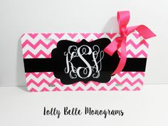 Pink Chevron, Monogrammed License Plate by lollybellemonograms on Etsy