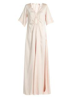 ROSIE ASSOULIN Tie-neck silk-faille gown. #rosieassoulin #cloth #gown