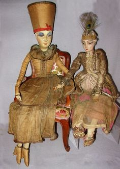 All cloth French boudoir dolls. 75 and 63 cm. Courtesy François ...
