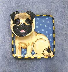 Pug Chip and Dip Tray. Hand made and hand painted with lead free and food safe underglazes and slip trailing. This item is made to order so the item