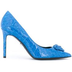 Versace Palazzo Medusa pumps ($656) ❤ liked on Polyvore featuring shoes, pumps, blue, pointed toe stilettos, blue stilettos, stiletto shoes, stiletto pumps and crocs shoes