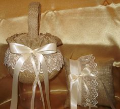 1 BURLAP FLOWER GIRL BASKET and 1 RING PILLOW, YOUR COLOR BOWS THESE NEW DESIGNS ARE AVAILABLE IN MY EBAY STORE  GIDESIGNS  THEY CAN HAVE CUSTOM COLORS FOR THE LACE, WHITE OR IVORY AND ANY SATIN COLOR FOR THE BOWS. YOU CAN ALSO ADD ON A GUEST BOOK, PEN AND GARTER IF YOU NEED THEM.   VERY GOOD PRICE FOR THESE UNIQUE ITEMS.  LET ME MAKE SOMETHING UNIQUE FOR YOUR SPECIAL DAY.   GERALDINE IVES