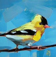 Goldfinch no. 31  bird painting by Moulton prattcreekart